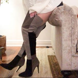 NEW Charles David Suede Kris Over the Knee Boot